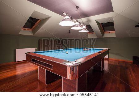 Billiard Table In Luxury House