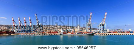 Panoramic View of the city of Haifa from Haifa's Port dock