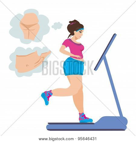 Obese Girl Runs On A Treadmill