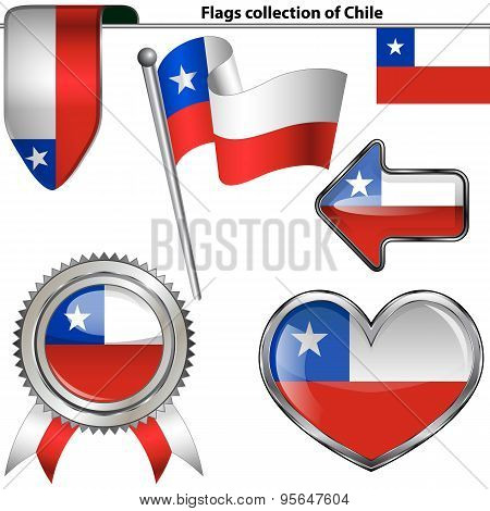 Glossy Icons With Flag Of Chile