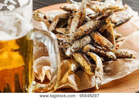Fried smelts fish