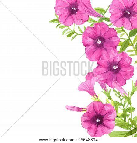 Watercolor Petunias