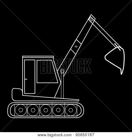 Excavator With Bucket Construction Road Works