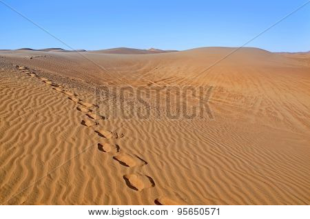 Dunes In The Desert.arid Desolate Landscape.footprints In The Sand.structure Of Waves In The Desert