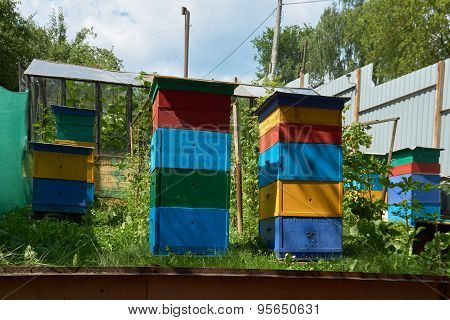 Colorful Beehives In The Garden