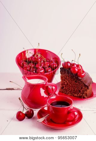 Chocolate Cakes With Cherries For Breakfast And Cup Of Coffee. Selective Focus.