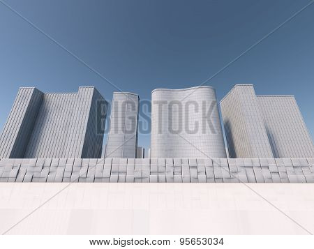 white skyscapers 3d rendering