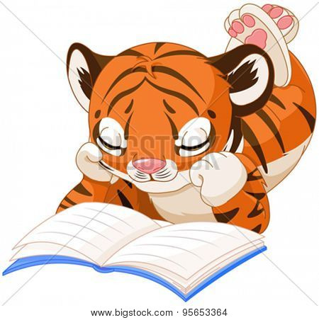 Cute little Tiger cub is reading