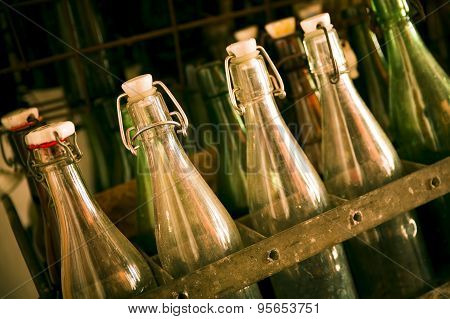 Old beer bottles in wooden cases
