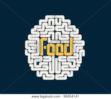 Human brain with conceptual text
