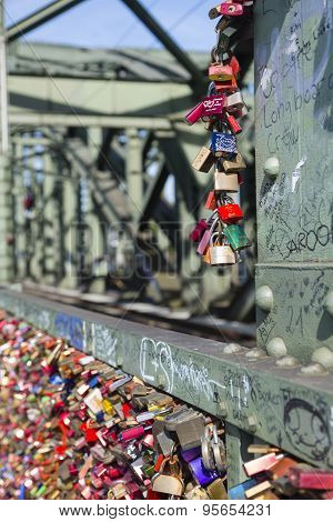 Love Padlocks On The Hohenzollern Bridge In Cologne