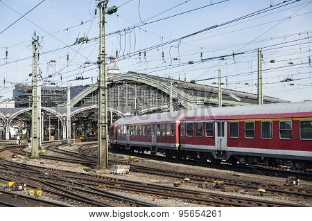 Cologne Central Station And A Train, Germany