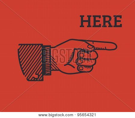 Human finger with sign here