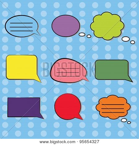 Colorful comic Speech Bubbles Set