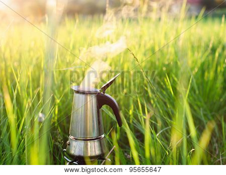 Coffee is preparing outdoor