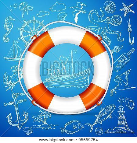 Hand-drawn elements of marine theme with orange life buoy