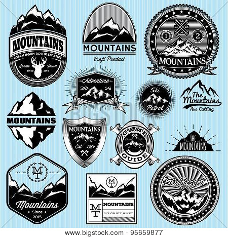 Set Of Templates For Emblems With Different Mountains
