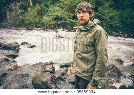 Young Man bearded hiking outdoor