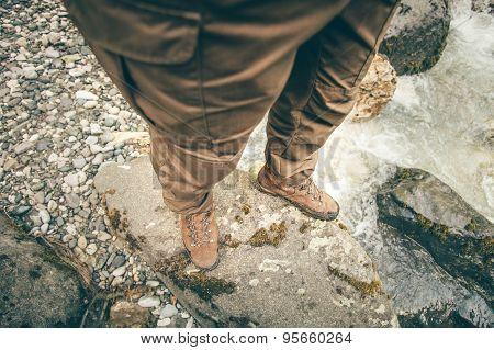 Feet Man trekking boots hiking outdoor Lifestyle Travel
