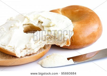 Cream cheese plain bagel.