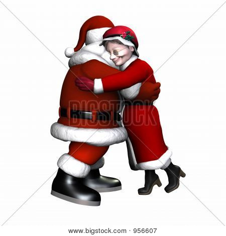 Santa And Mrs Claus Hugging - Isolated