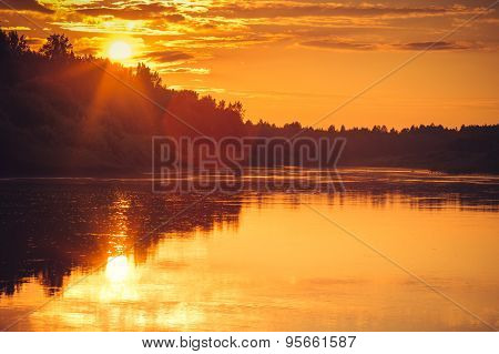Background of Sunset Sky and River reflections beautiful scenery