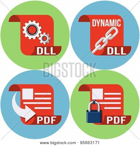 File Type Icons Vector Flat Icons DLL and PDF
