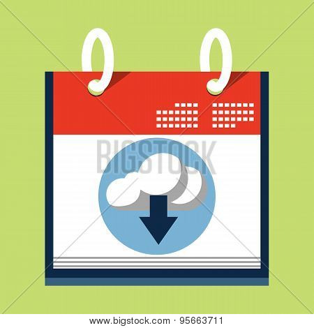 Cloud Download Icon on Calendar