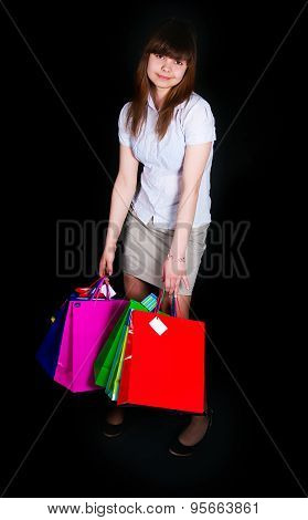 The Girl With Multi-colored Paper Packages