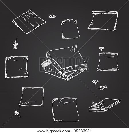 Set of hand drawn chalk paper notes