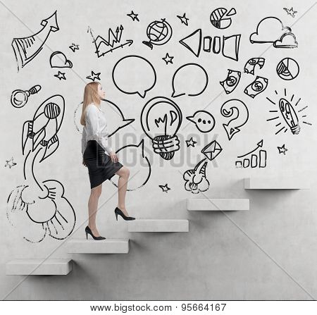 Young Business Woman Is Going Up To The Stairs. A Concept Of A Brainstorm. Business Icons Are Drawn