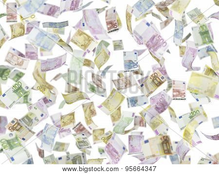 Flying Euro Notes Over Isolated Background.