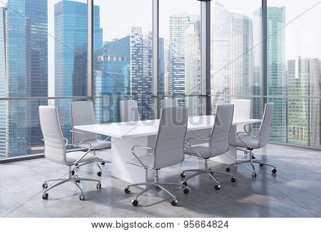 Panoramic Conference Room In Modern Office In Singapore. White Chairs And A White Table. 3D Renderin