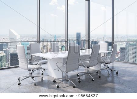 Panoramic Corner Conference Room In Modern Office In New York City. White Chairs And A White Table.