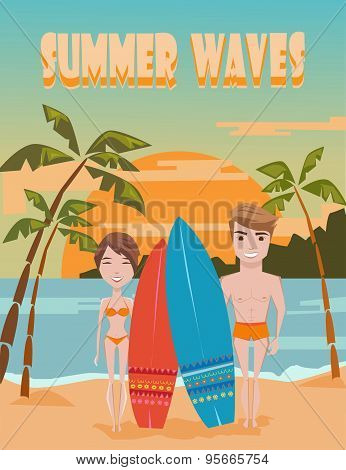 Summer Waves. Vintage Retro Summer Poster. Surfing