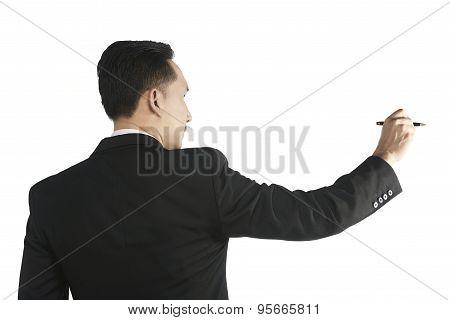 Asian Man Writing Something