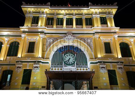 Saigon, Vietnam - May 26, 2015: Night View Of Saigon Central Post Office At Ho Chi Minh City, Viet N