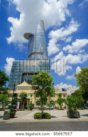 Ho Chi Minh City, Vietnam - May 27, 2015 : Nguyen Hue Pedestrian Street With Bitexco Towers View
