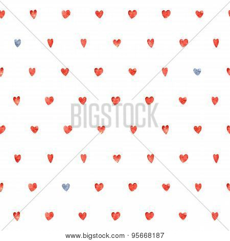 Seamless polka dot hearts pattern.