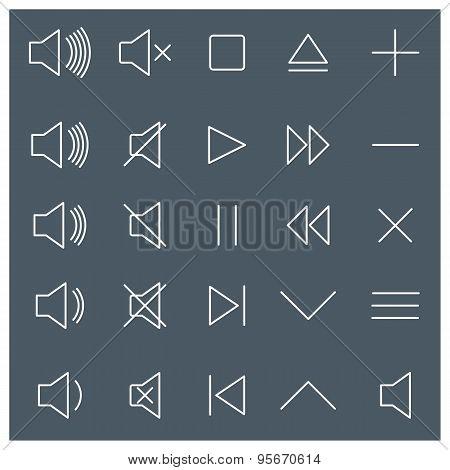 Line Media Icons, Vector Illustration.