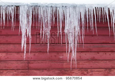 Ice On A Red Barn