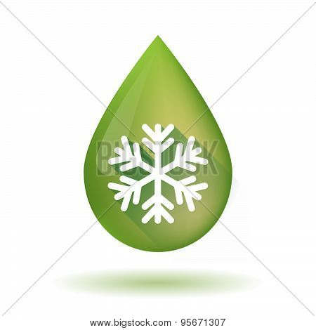Olive Oil Drop Icon With A Snow Flake