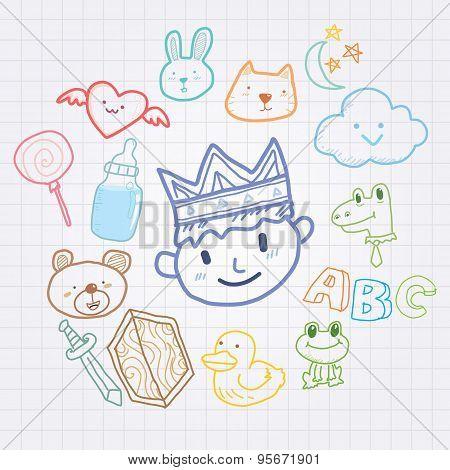 King and pet doodle cartoon