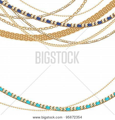 Many golden chains background.