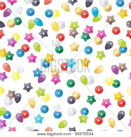 Colorful sequins pattern.  Round, star and leaf forms decorations  background.