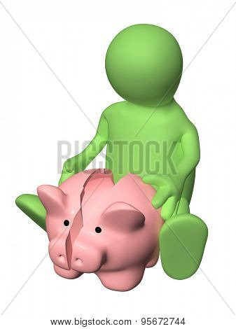 3d man with broken piggy bank. Isolated on white backgound