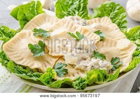 Ravioli Stuffed With Mushrooms And Ricotta
