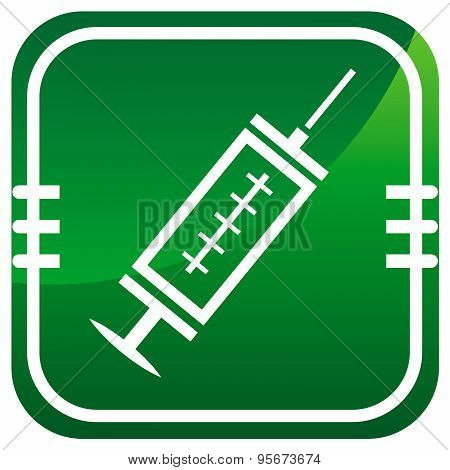 Medical Syringe With Vaccine - Green Icon