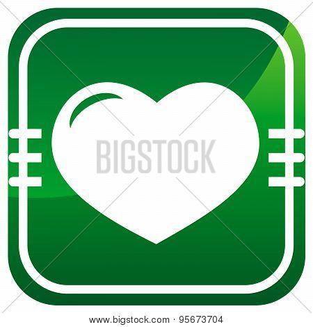 Green Icon Isolated - Human Organ. Heart