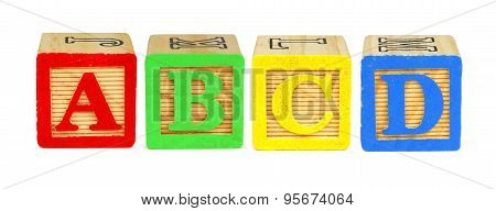 A B C D toy wooden letter blocks